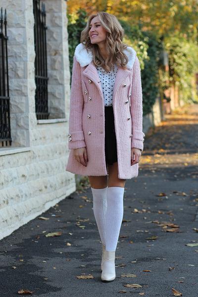 Sheinside coat - Mart of China boots - Sheinside blouse - H&M skirt