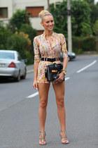 Sheinsidecom bodysuit - romwe bag - Zara heels