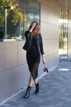 Mango boots - shein dress - Bershka jacket - Marc Jacobs bag