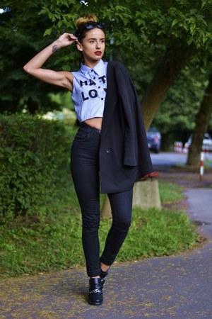 black Zara boots - black Zara jeans - black Zara jacket