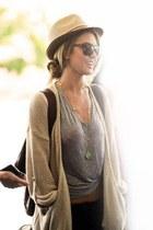 fedora hat - sunglasses - cardigan - t-shirt - necklace