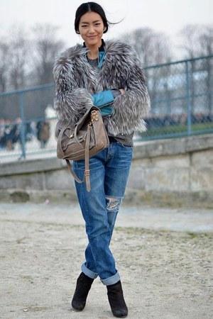 Topshop boots - faux fur Topshop coat - boyfriend Zara jeans - H&M bag