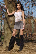 black boots - heather gray skirt - white top