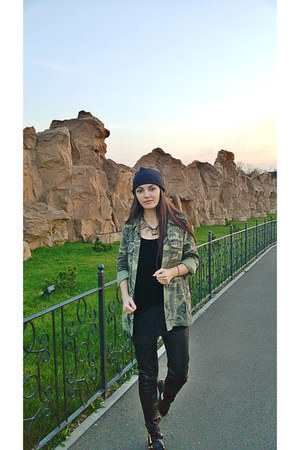 cut out asos boots - New Yorker hat - camo Zara jacket