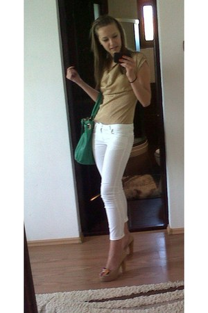 forest green Hermes bag - white Victoria Dee panties - camel sandals