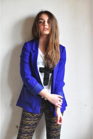 blue H&M jacket - dark khaki c&a leggings - white Fox t-shirt