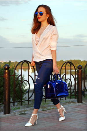 blue Lalalilo jeans - blue candy bag Furla bag - white wrap Lalalilo blouse