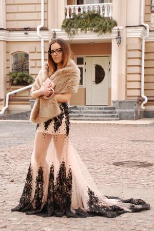 nude Dresswe dress - neutral faux fur stole Zara scarf