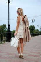 ivory crochet Chicwish dress - beige DIY coat - ivory shopper Stradivarius bag