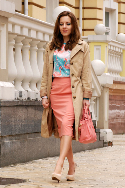 camel trench H&M coat - salmon baby pink OASAP bag