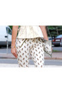 Mirror-silver-zara-bag-dog-print-zara-pants-cream-peplum-h-m-top