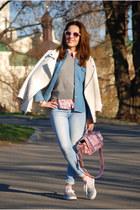 bubble gum floral print vintage shirt - light blue denim vintage shirt