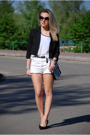 black short Only blazer - black striped DIY bag
