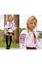 vyshyvanka ukraine blouse - high knee socks new look socks - Nelly sandals