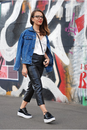 white DIY bracelet - dark gray zaful shoes - blue oversized denim vintage jacket