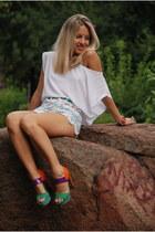 DIY shorts - color block blink heels