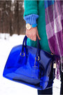 Turquoise-blue-woolen-persunmall-coat-blue-candy-furla-bag