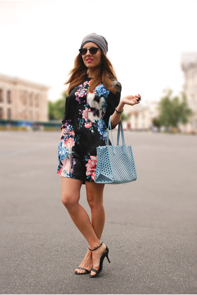 black SIX sunglasses - blue sporty floral OASAP dress
