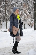 neon pull&bear scarf - spurs DIY boots - Topshop skirt