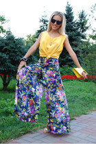 palazzo pants Jobi pants - yellow clutch hm bag - gold heels Paris Hilton heels