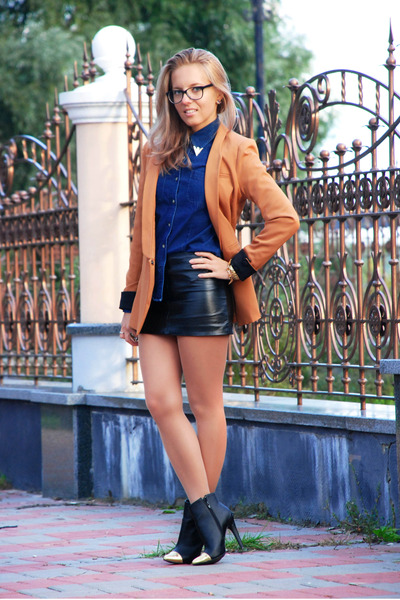 black gold toe cap asos boots - camel longline Sheinside blazer