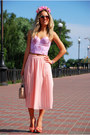 Flower-crown-diy-hair-accessory-light-pink-pleated-skirt-vintage-skirt