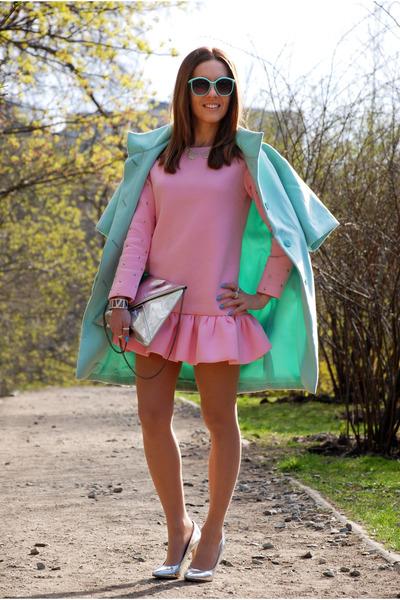 aquamarine mint kira plastinina coat - pink Choies dress