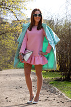 aquamarine mint kira plastinina coat - pink Choies dress