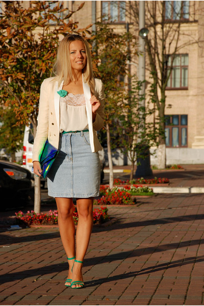 cream Mango blazer - ivory lace Topshop shirt - green holographic H&M bag