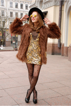 gold SENSATION OF NIGHT dress - brown shaggy faux fur asos coat