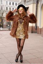 gold SENSATION OF NIGHT dress - brown shaggy faux fur asos coat