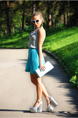 aquamarine pleated skirt DIY skirt - silver Nelly wedges