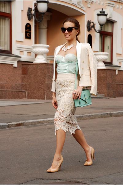 cream Chicwish skirt - ivory cropped satin Mango blazer