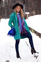 turquoise blue woolen PERSUNMALL coat - blue candy Furla bag