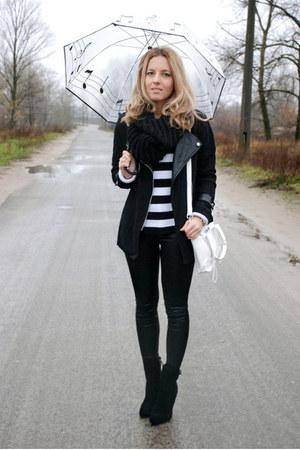 black Sheinside jacket - white DIY earrings