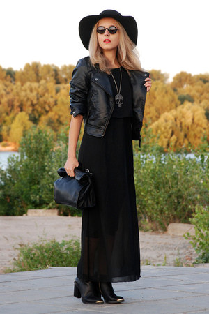 black leather look Bershka jacket