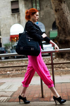 hot pink denim jacket pants - black ankle boots boots - dark gray flannel jacket