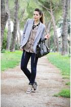 black balenciaga bag - heather gray Crime shoes - navy Fornarina jeans