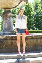 red Converse sneakers - navy H&M shorts - white Sheinside t-shirt
