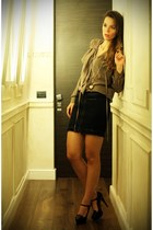 black Fornarina shoes - camel Fornarina shirt - black Fornarina skirt