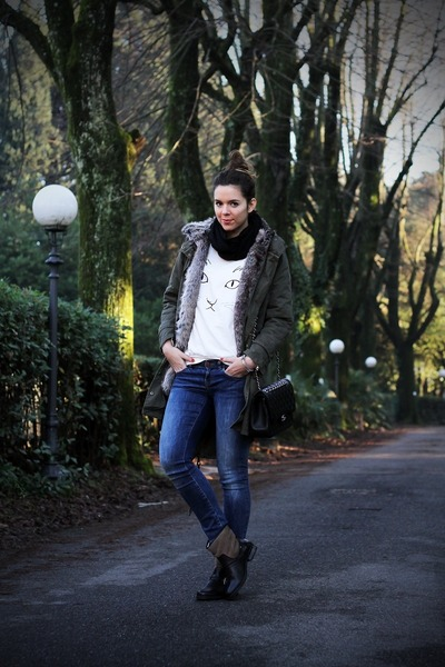 black shoes - green Glamorous coat - navy Rifle jeans - white Sheinside sweater