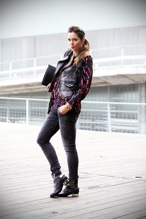 red silvian heach blouse - black Jeffrey Campbell shoes - gray Fornarina jeans