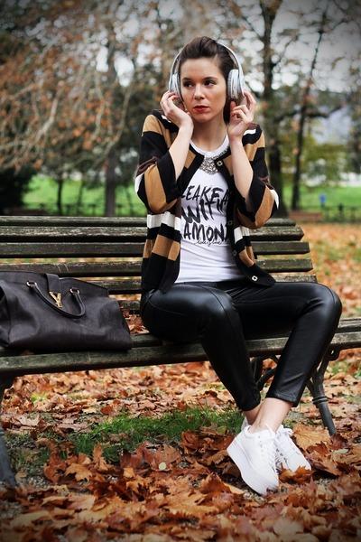 white Jeffrey Campbell shoes - dark brown YSL bag - black BLANCO pants