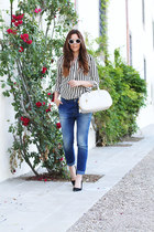 black Sheinside shirt - navy Rinascimento jeans - white Prada bag