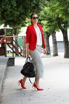 red silvian heach jacket - white Rinascimento shirt - black Prada bag