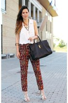 puce YSL bag - tan H&M shoes - white H&M shirt - crimson Zara pants