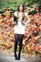 black cinti shoes - beige OASAP dress - black Stradivarius bag - black H&M belt