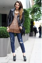 leather shirt Stefanel shirt - asos shoes - Sheinside jacket - romwe bag