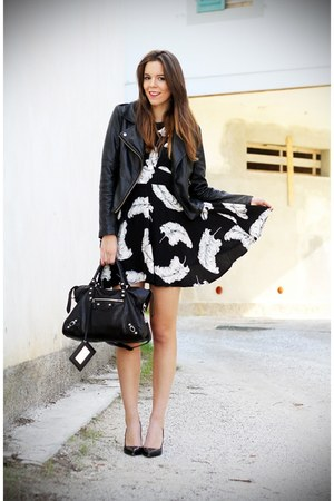 black balenciaga bag - black sarenzait shoes - white Motel Rocks dress