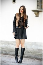 black Stradivarius boots - black Stradivarius jacket - black Stradivarius bag